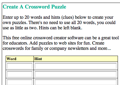 Web Based Form To Specify Words Clues Parameters