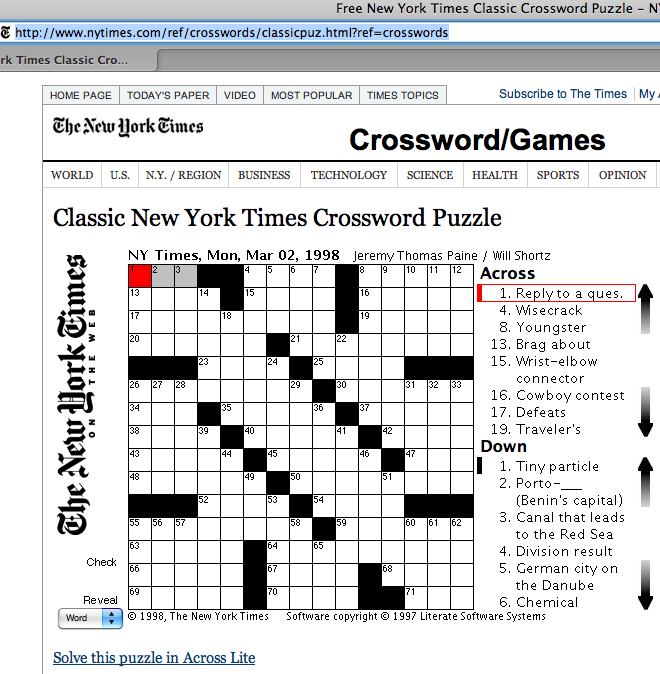 image relating to Washington Post Crossword Printable called CROSSWORDS: Resources: World-wide-web Web-sites CommuniCrossings